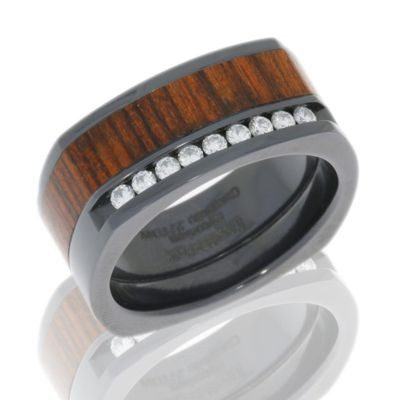 Zirconium Diamond Band with Cocobollo Wood Inlay and Diamonds