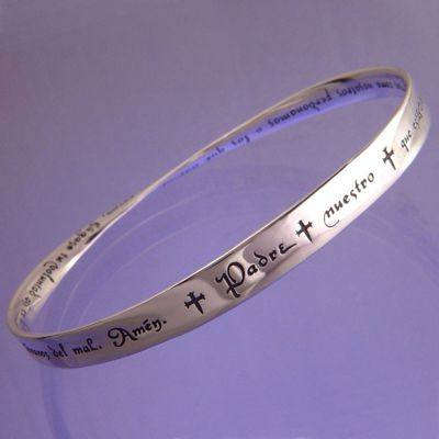 Lord's Prayer In Spanish Sterling Silver Bracelet