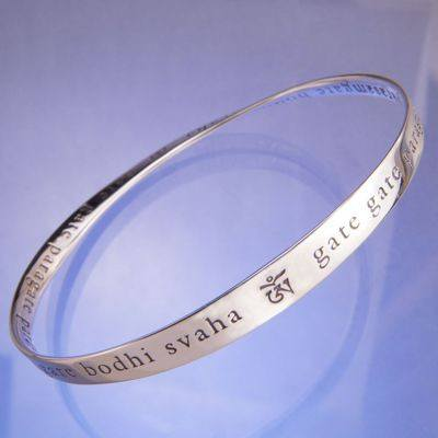 Heart Sutra Bracelet in Sterling Silver