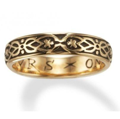 """Yours Onli"" (French ~ ""yours only"") poesy ring in gold"