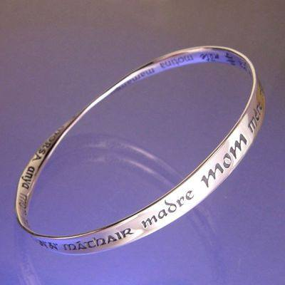 Mom In Thirty Two Languages Bracelet in Sterling Silver