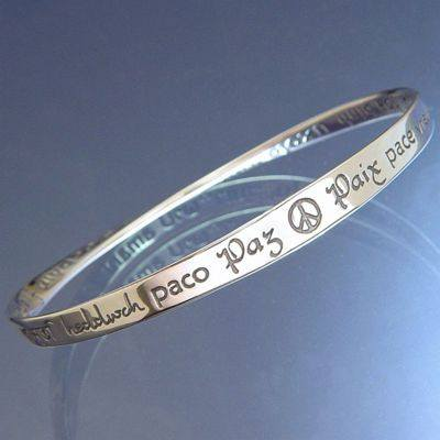 Sterling Silver Peace Bracelet In Forty Languages