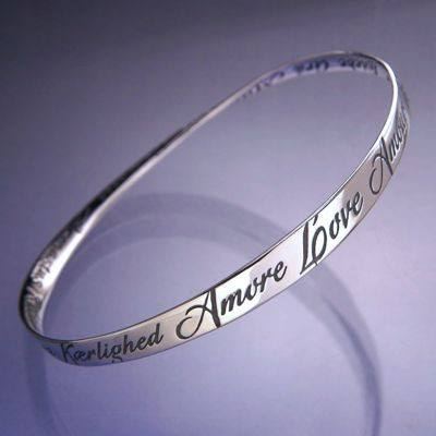 Sterling Silver Love Bracelet In Twenty Eight Languages.