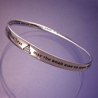 """May The Road Rise To Meet You"" Silver Irish Blessing Bracelet"