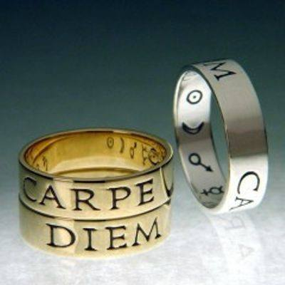 """Carpe Diem Ring"" (seize the day).  Latin poesy rings in gold or silver."