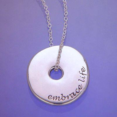 Embrace life necklace in sterling silver