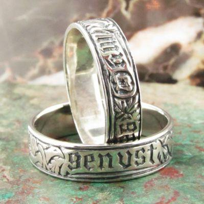 """Myn Gynst"" (German ~ ""My Heart"") poesy rings in silver"