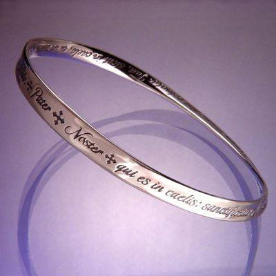 Sterling Silver Lord's Prayer Bracelet In Latin