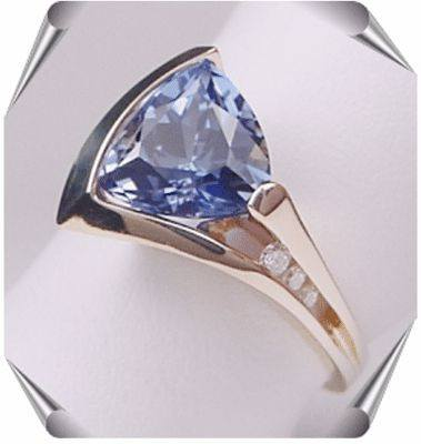 Created Sapphire and Diamond Ring from the Strellman's Delta Collection