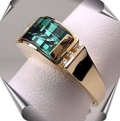 Strellman's Opposed Bar Cut Gemstone and Diamonds Ring