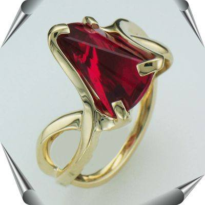 (large size)  Created Ruby Strell Cut Lighthouse Lens Ring