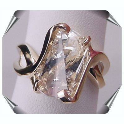 Strellman Lighthouse Ring with White Topaz in 14K