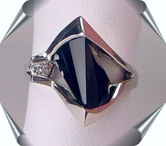 Black Onyx and Diamond Lighthouse Cut Rings in 14K Gold