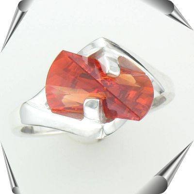 Silver Orange Sapphire Lighthouse Lens Cut Ring