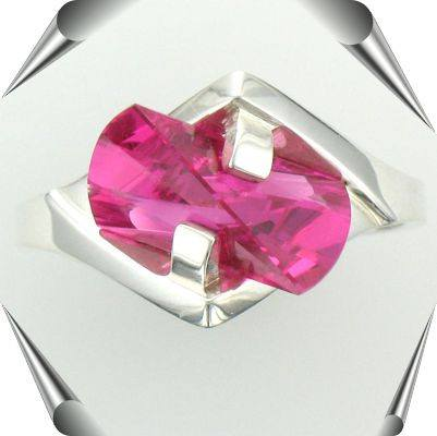 Silver Pink Sapphire Lighthouse Lens Cut Ring
