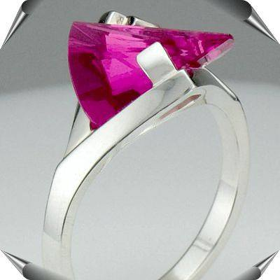 Lighthouse Lens Cut Pink Sapphire Ring