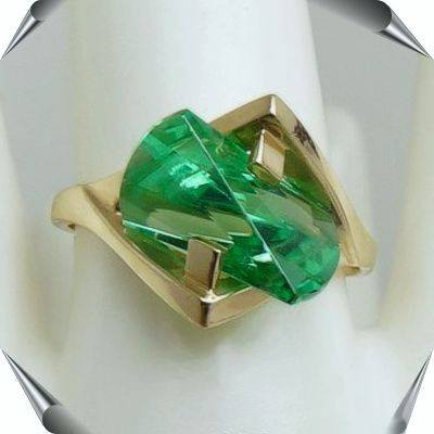 Green Garnet Lighthouse Lens Cut Ringd