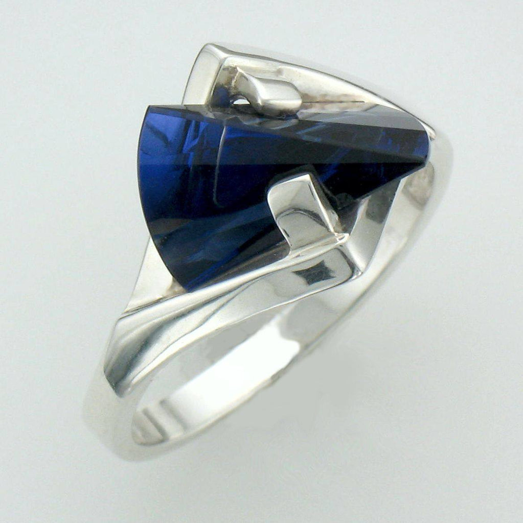 Strellman Lighthouse Lens Cut Created Blue Sapphire in Silver
