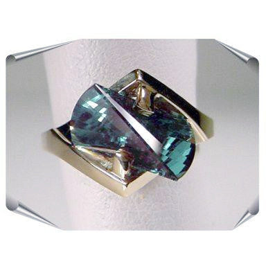 Green Garnet Lighthouse Lens Cut Rings from the Strellman Jewelry Collection