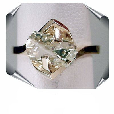 White Topaz Lighthouse Cut Rings in 14K White or Yellow Gold