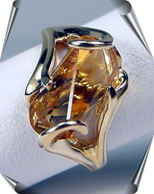 Lighthouse Cut Citrine Ring in Gold