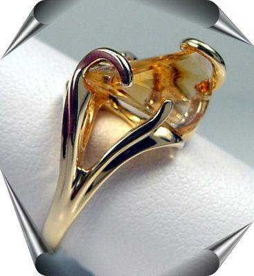 Lighthouse Lens Cut Citrine Ring in Gold