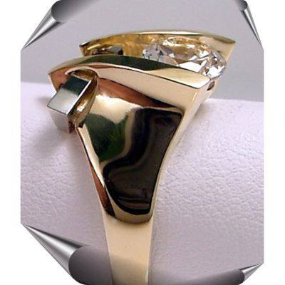 Designer Two-Tone 14K Gold Gemstone Strellman's Ring