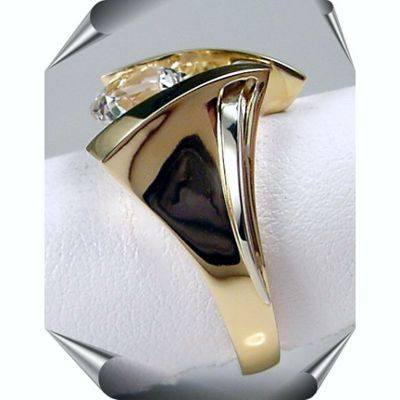 Designer Two-Tone 14K Gold Gemstone Strellman's White Topaz Ring