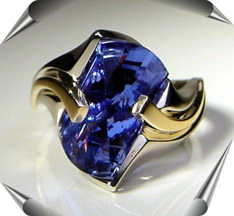 Lighthouse Lens Cut Ring with Created Sapphire