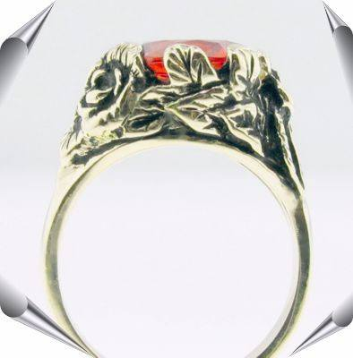 "Strellman's Leaves Ring in 14K gold with orange created ""Padparadshah"" sapphire"