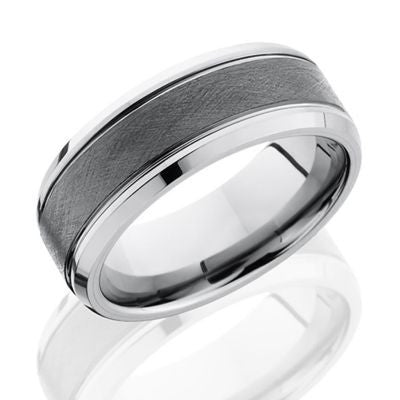 Tungsten and Ceramic Band with Wire Finish