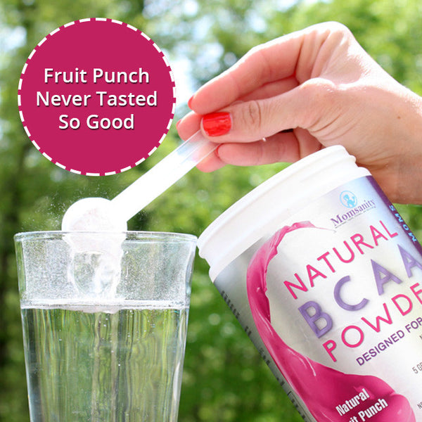 Natural BCAA Powder- Fruit Punch- Naturally Sweetened, Colored and Flavored