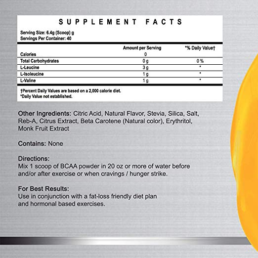 Natural BCAA Powder- Orange Crush - Naturally Flavored, Sweetened and Colored