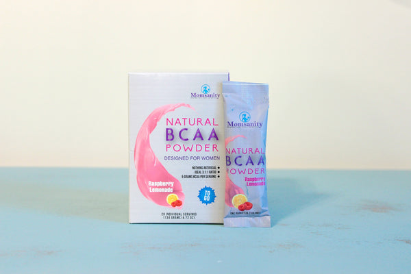 Single Serving Stick Packs Natural BCAA Powder- Raspberry Lemonade- Naturally Sweetened, Colored and Flavored