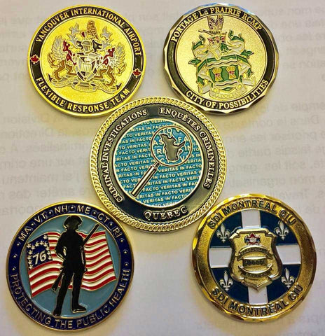assorted law enforcement challenge coins