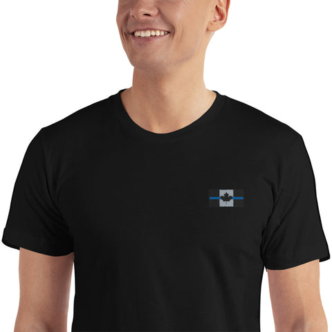 Thin Blue Line Canada Flag - Embroidered T-Shirt - Unisex