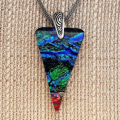 Fused Glass Dichroic Triangle Pendant on Stainless Steel Mesh Necklace