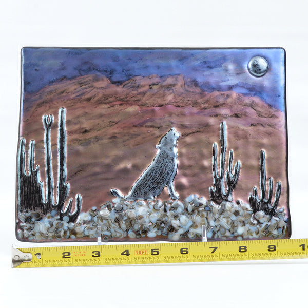 Panel Fused Glass Southwest Coyote Howling at Moon w/Stand