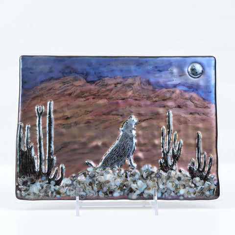 Fused Glass Southwest Coyote Art Panel | The Glass Rainbow
