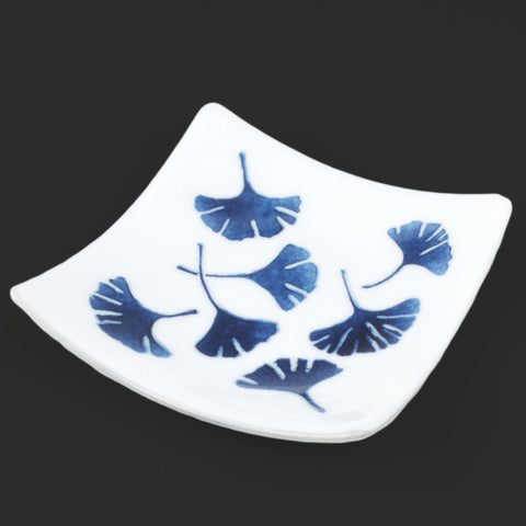 Fused Glass Ginkgo Leaf Square Plate | The Glass Rainbow
