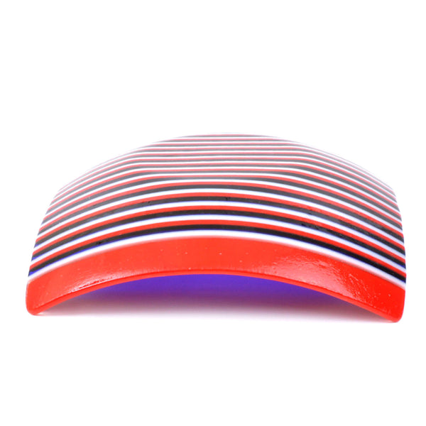 Fused Glass Red White & Blue Striped Square Dish