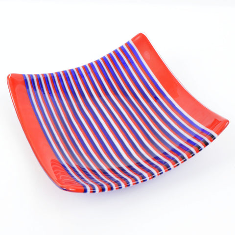 Fused Glass Patriotic Square Striped Dish | The Glass Rainbow
