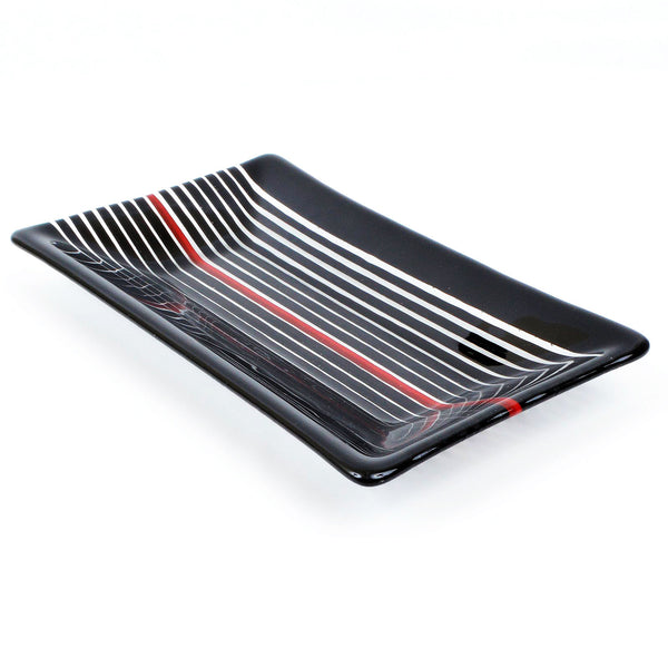 Fused Glass Black & Clear Strip Construction Dish