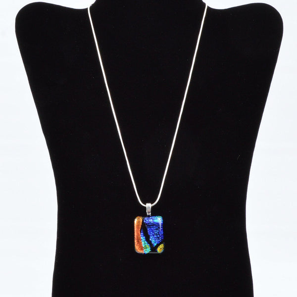 Jewelry Fused Dichroic Glass Pendant w/Silver Plated Snake Chain