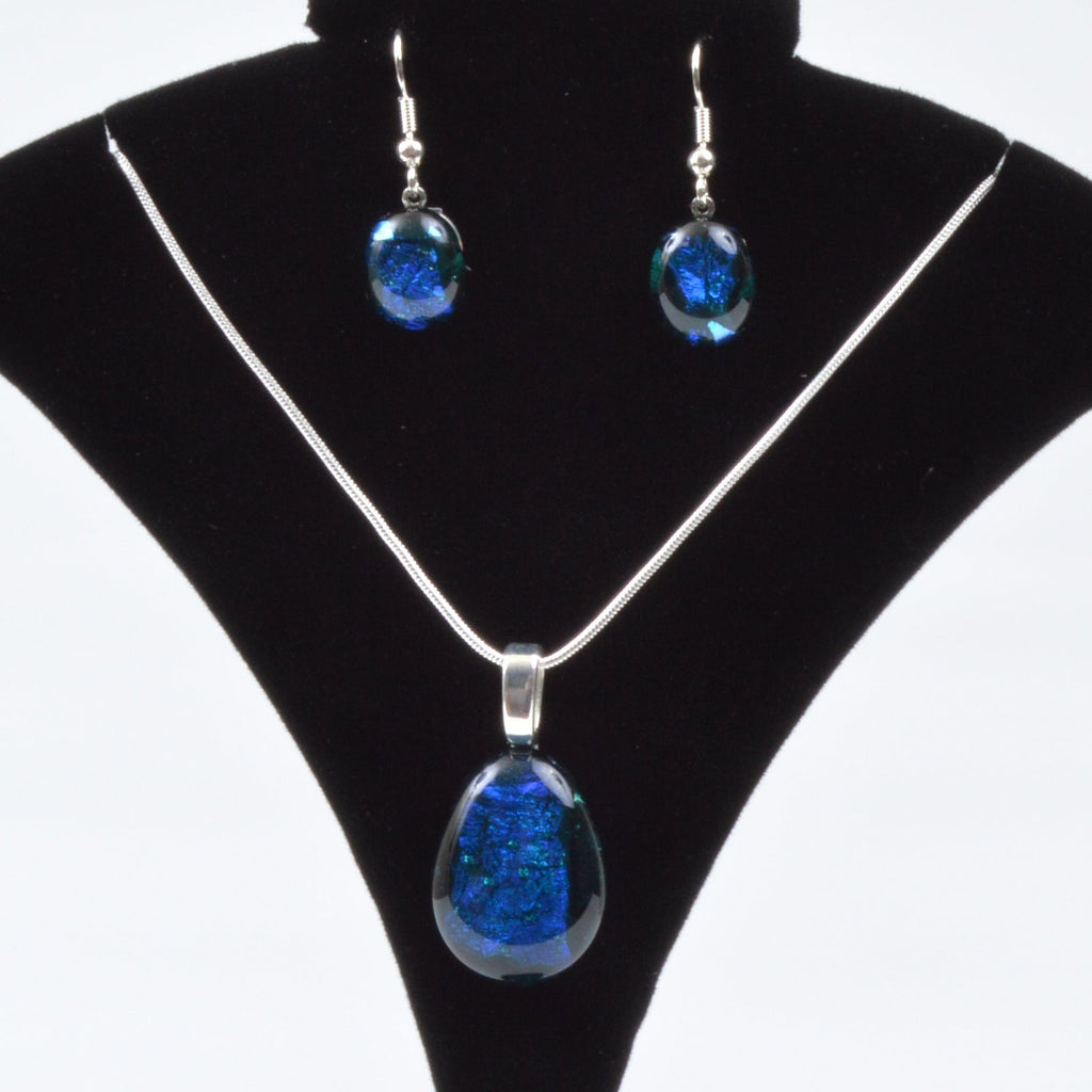 Jewelry Fused Dichroic Glass Pendant Necklace Earring Set