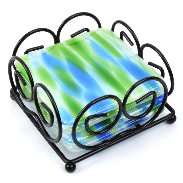 Fused Glass Coaster Set in Green & Blue | The Glass Rainbow