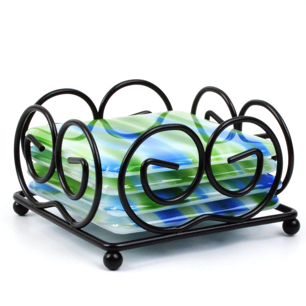 Fused Glass Coaster Set in Blue & Green -with Free Holder