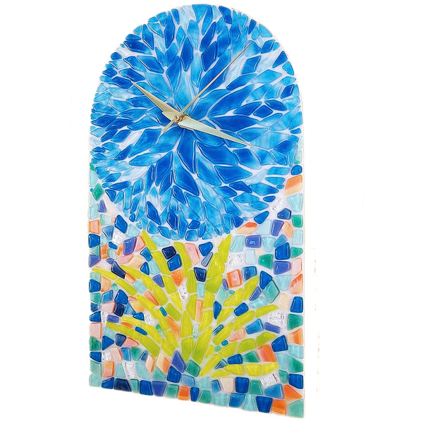 Tropical Flower Mosaic Glass Desk or Wall Art Clock | Home Decor Accent Gifts