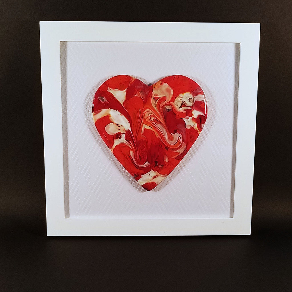Unique Valentines Day Gifts | Fused Glass Art Framed Heart Wall Art