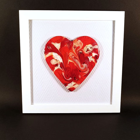 Fused Glass Art Heart in a Frame | Modern Home Decor Accessories
